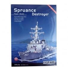 3D пазл бумажный Spruance Destroyer