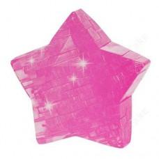"""3D кристаллический пазл и сувенир """"Звезда"""" розовая"""