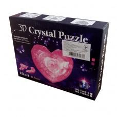 """3D кристаллический пазл и сувенир """"Сердце"""" синее с подсветкой"""