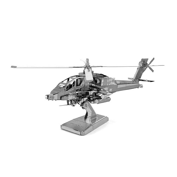 """3D металевий пазл-модель і сувенір """"вертоліт Apache"""""""