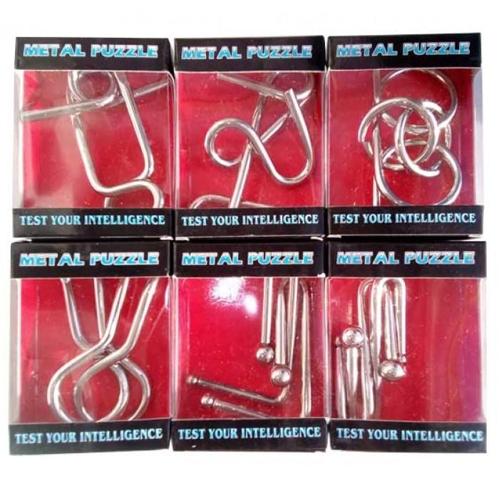 Набор из 6 металлических головоломок Wire Puzzle