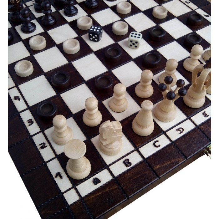 Комплект шахи + нарди + шашки середні (Madon) с-143