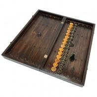 Комплект 3 в 1 50х50 см (шахматы, шашки и нарды) ручной роботы, резной, темный, орех.