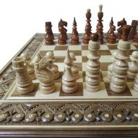 Комплект 3 в 1 50х50 см (шахи, шашки та нарди) Інкрустований. Ручна робота.