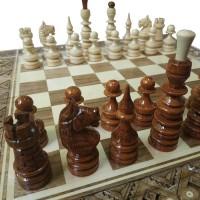 Комплект 3 в 1 50х50 см (шахматы, шашки и нарды) Инкрустированный. Ручная робота.