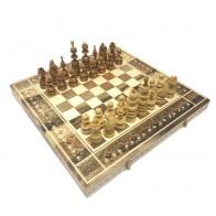 Комплект 3 в 1 46х46 см N2 (шахматы, шашки и нарды) Инкрустированный. Ручная робота.
