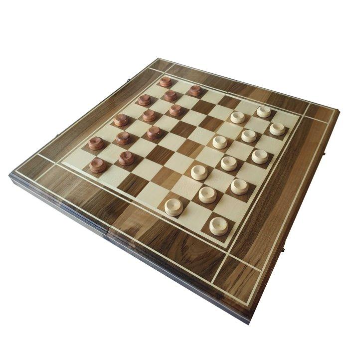 Комплект 3 в 1 50х50 см N2 (шахматы, шашки и нарды) Инкрустированный. Ручная робота.