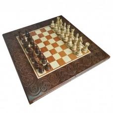 Комплект шахматы,нарды, шашки ручной роботы 55х55см темный RR-Z0005