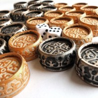 Фішки для нард обтягнуті шкірою №2 (золото/срібло)