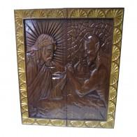 Нарды-картина 95х80см.  Иисус борется с дьяволом. Ручная робота.