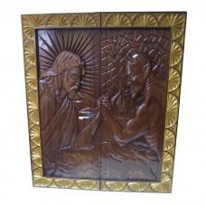Нарди-картина 95х80см. Ісус бореться з дияволом. Ручна робота.