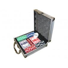 Покерный набор на 100 фишек с номиналом (кейс)