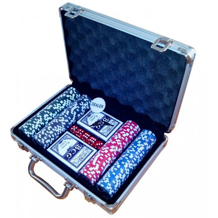 Покерный набор на 200 фишек с номиналом (кейс)