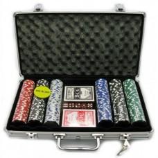 Покерный набор на 300 фишек с номиналом (кейс)