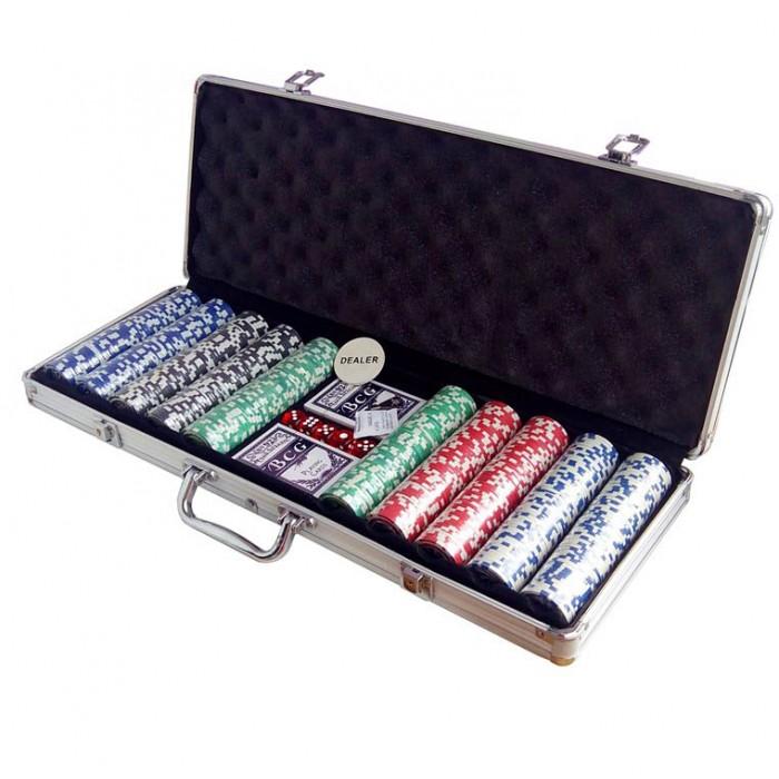 Покерный набор на 500 фишек с номиналом (кейс)