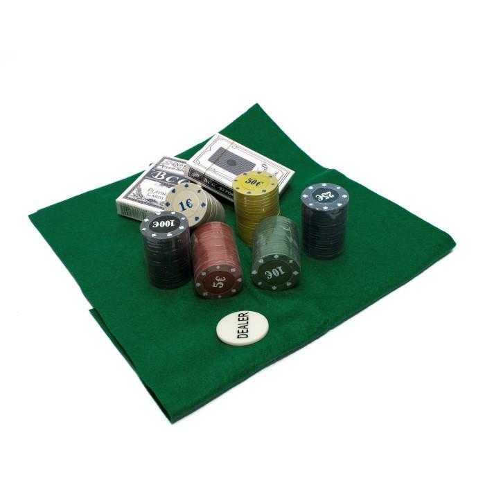 Покерний набір на 120 фішок з номіналом у фігурній коробці
