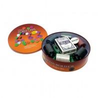 Покерный набор на 120 фишек с номиналом в круглой коробке