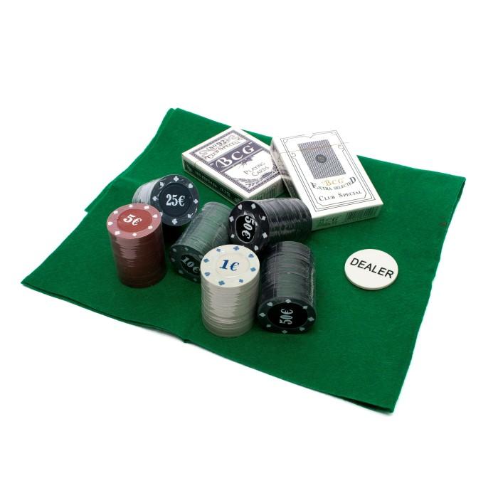 Покерний набір на 120 фішок з номіналом в круглій коробці