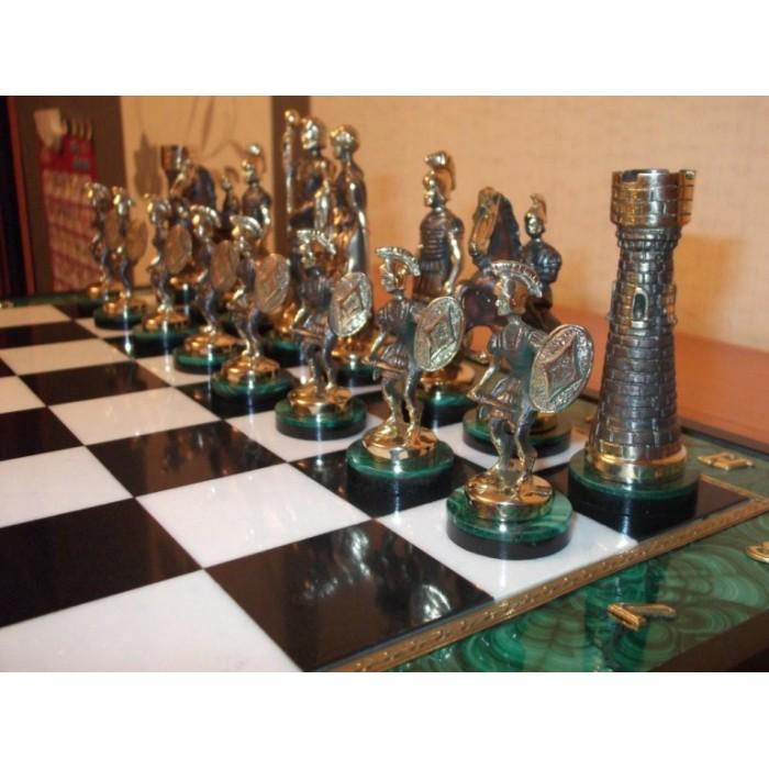 Шахматы малахитовые Спартанские