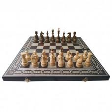 Комплект 3 в 1 (шахи, шашки та нарди) темні. Ручна робота