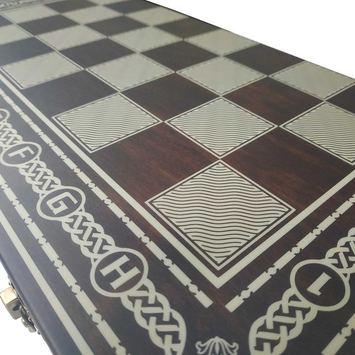 Комплект 3 в 1 (шахматы, шашки и нарды) тёмные. Ручная робота