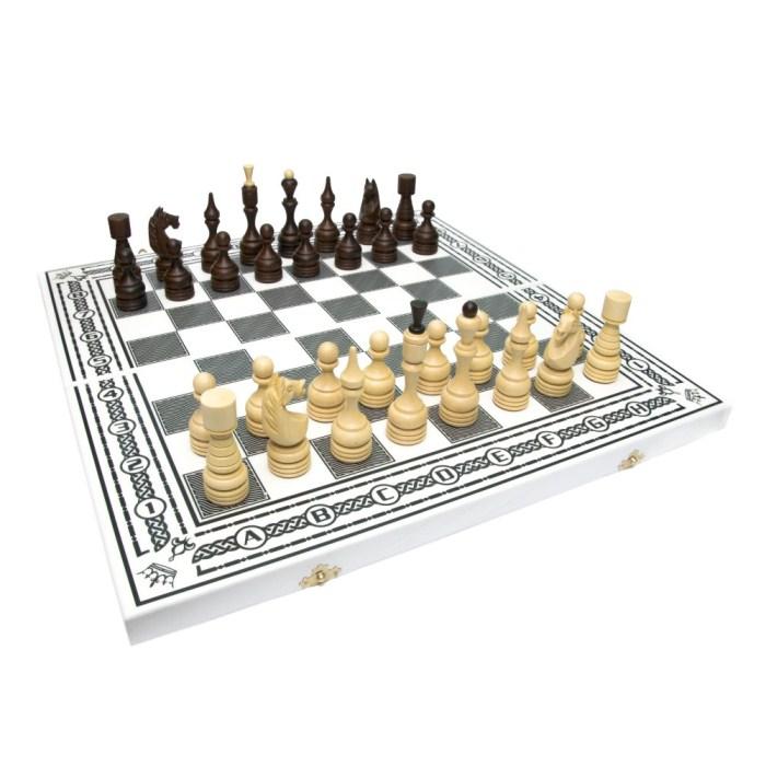 Комплект 3 в 1 (шахи, шашки та нарди) білі. Ручна робота
