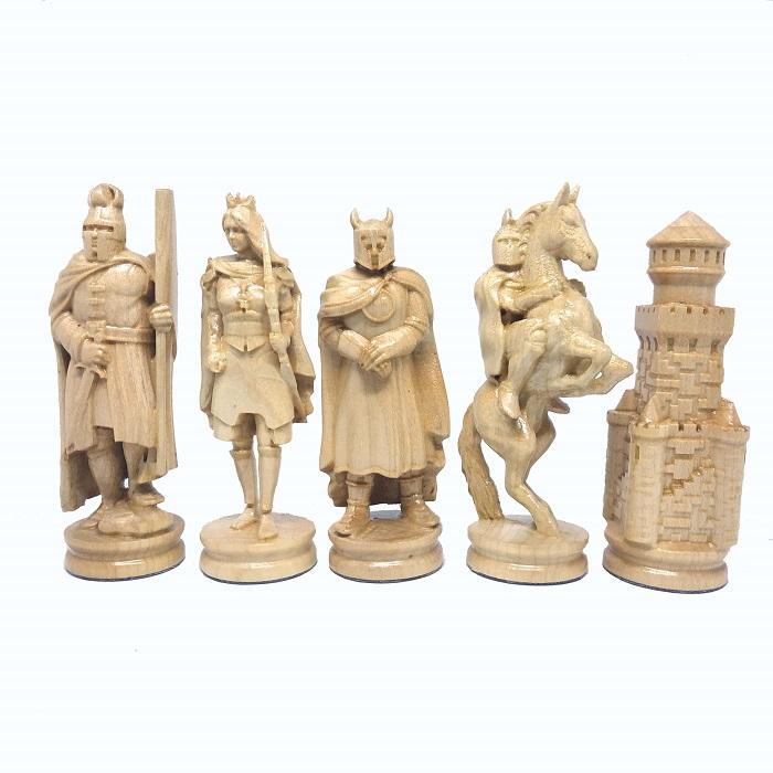 Шахматные фигуры деревянные Рыцари (коричневые)