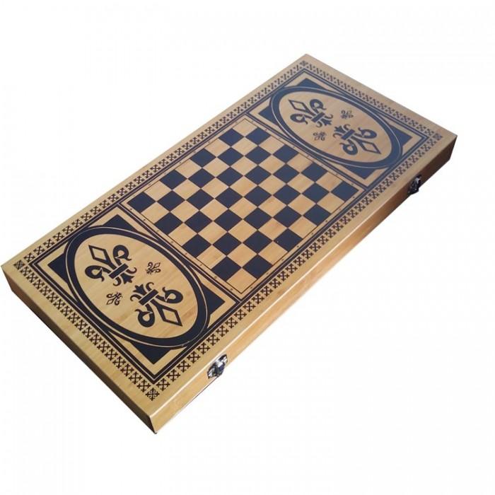 Нарды + шахматы + шашки бамбук B5025-C