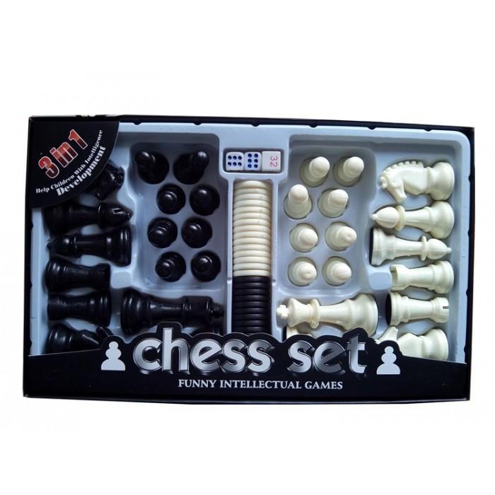 Комплект шахових фігур і фішок (шашок) GY9866