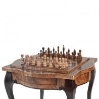 Шахматный стол ручной роботы фигурный (шпон корень ореха,оливкого ясеня и кап тополя)
