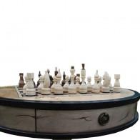 Шахматный стол ручной роботы Круглый (ясень, шпон кап тополя)