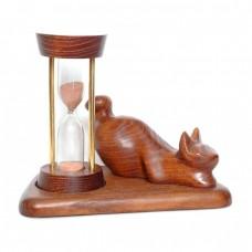 Часы песочные со скульптурой Кот лежачий