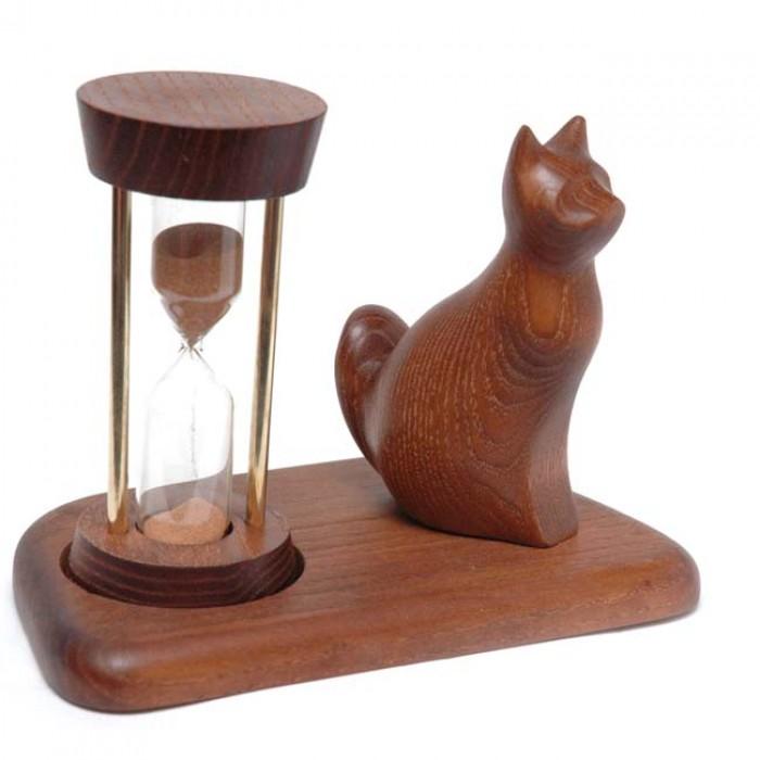 Годинник пісочний зі скульптурою Кіт сидячий