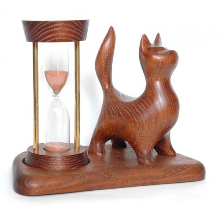 Часы песочные со скульптурой Кот стоячий