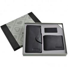 Чоловічий подарунковий набір 3в1 ключниця/портмоне/зажим для грошей