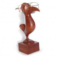 Статуэтка деревянная, подставка для очков Птичка коричневая