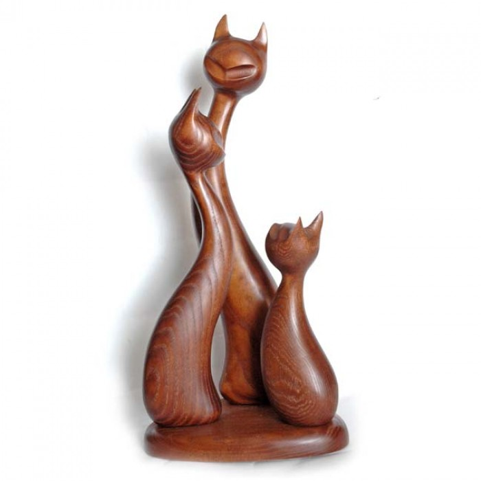 Статуэтка деревянная Кот, кошка, котенок коричневые