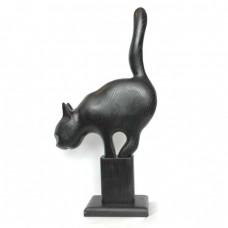 Статуэтка деревянная Кот охотящийся черный