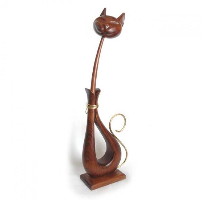 Статуэтка деревянная Кот с металлом коричневый