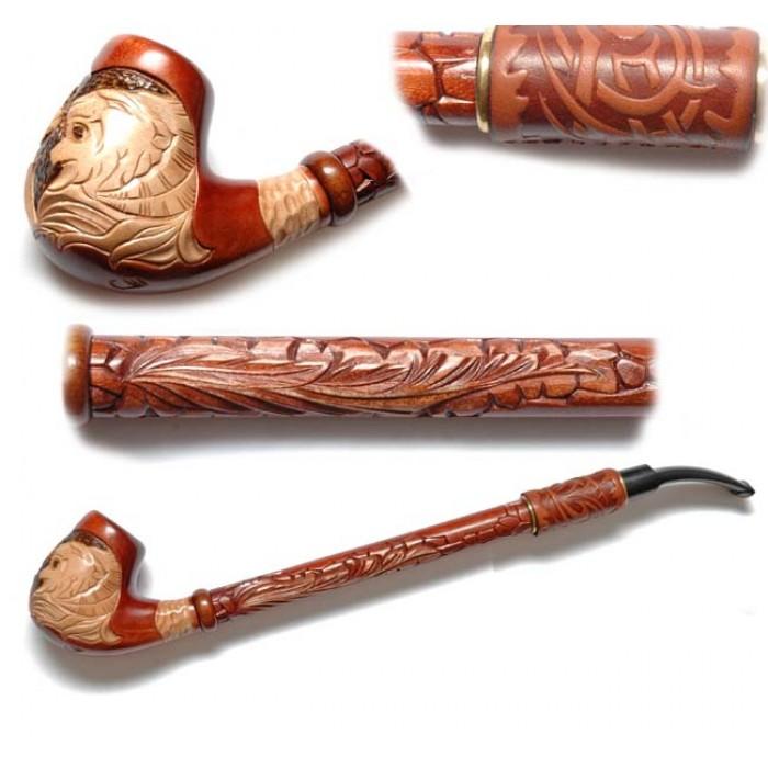 Трубка курительная Гусар с кожей (Лев грива)