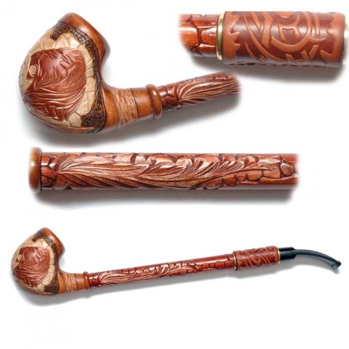 Трубка для куріння Гусар з шкірою (Лев грива на каменях)