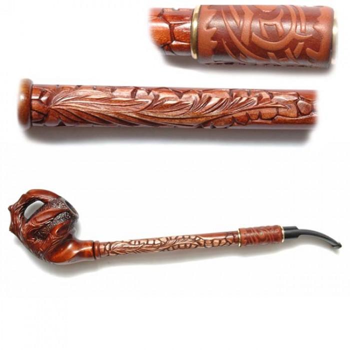 Трубка для куріння Гусар з шкірою (Люкс лапа)