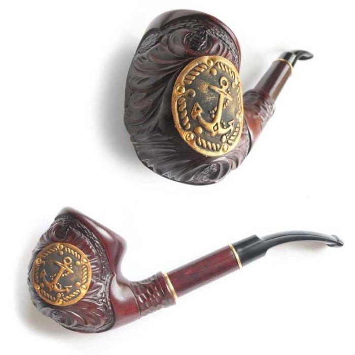 Трубка для куріння Супер (Якір шкіра золотий)